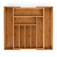 blumtal contenitore portaposate regolabile da cassetto organizer cucina, in bambù, misura large