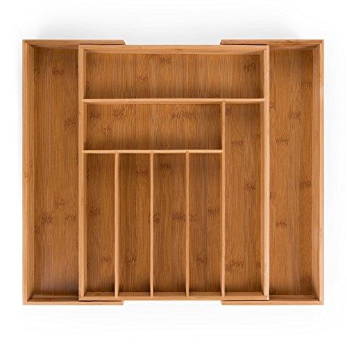 Blumtal Besteckkasten Schublade aus Bambus - größenverstellbarer Schubladen-Einsatz, bis zu 9 Fächer (Groß - 9 Fächer)