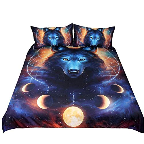 Loussiesd 3D Print Animal Duvet Cover Set King Size Wolf Bedding Set Decorative Microfiber Polyester Comforter Cover Galaxy Dream Catcher Print Quilt Cover with 2 Pillow Shams, 3 Pcs, Blue