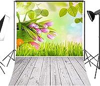 新しい春のイースターエッグの背景5x7ftチューリップの花緑の葉草背景素朴な灰色の木製の床写真の背景カスタマイズされた写真ブーススタジオ小道具ビニール591