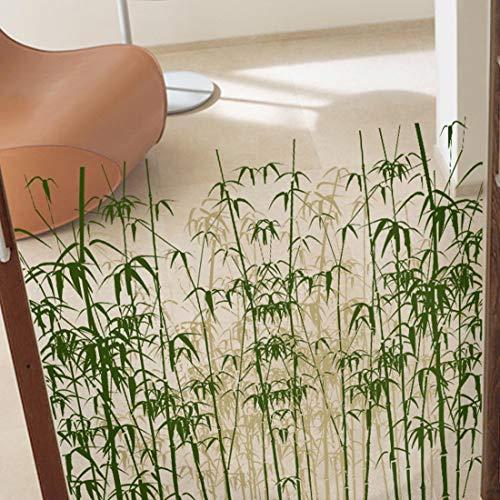 HBOS Privatsphäre Glas Bereift Film Selbstklebende Abnehmbare Fenster Aufkleber Statisch Haftenden Aufkleber Grün Bambus Muster Wandbild Dekoration für Bad Duschtür - 2 Stück