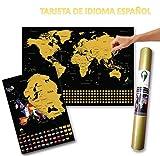 Global Walkabout ESPAÑOL - Mapa del rasguño mundial y mapa de rasguño europeo adicional con fondo de banderas - Regalo De Viaje -(negro)