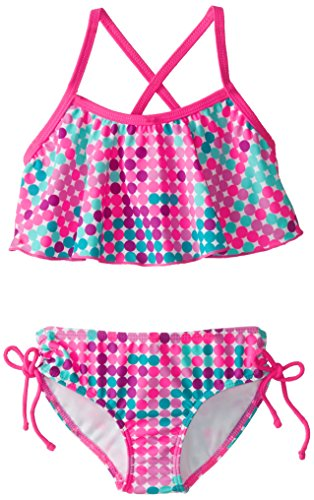 Kanu Surf Girls' Alania Flounce Bikini Beach Sport 2 Piece Swimsuit, Nikki Pink Dot, 14