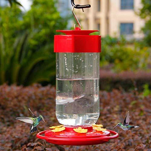 Comedero para colibríes, comederos para pájaros de botella grande, 8 estaciones de alimentación, color rojo