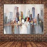 WunM Studio Ölgemälde Auf Leinwand Handgemalt, Moderne 3D-Abstrakte Landschaft Gemälde, Grau Bunte New York Brücke Stadt Gebäude, Großes Haus Wand Kunst Dekor Für Wohnzimmer Schlafzimmer Büro Hotel