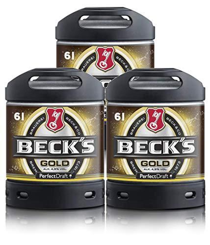 Bier PerfectDraft 3 x 6-Liter Fässer Bier. Zapfanlage für Zuhause. Inklusive 15euros Pfand. (Beck's Gold)