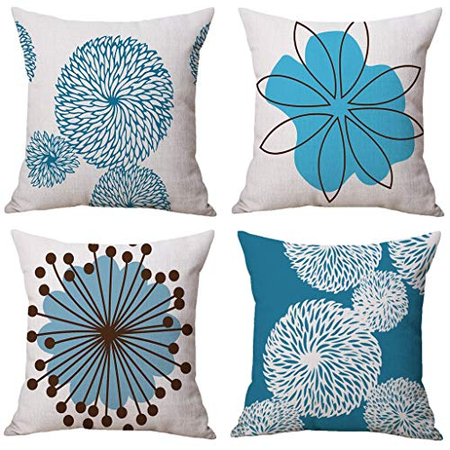 4pcs Modern Simple Geometric Style Cotton Linen Burlap Square Throw Pillow Cover, Home Decors for Christmas New Year (Multicolor)