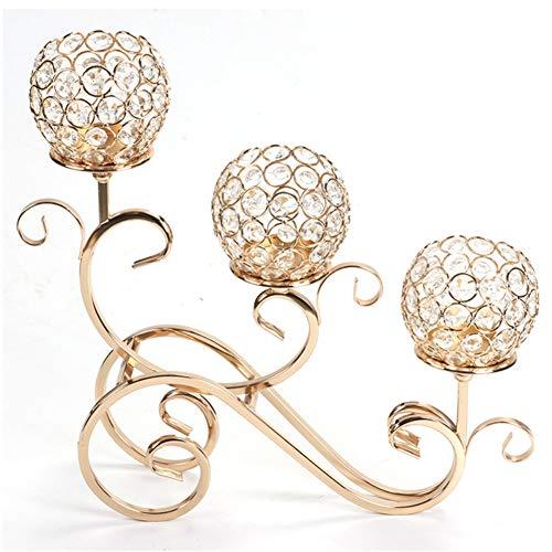Ruixf 3 Arme Kristall Teelicht Kerzenhalter für Hochzeit Esstisch Party Dekorative Mittelstücke, Weihnachten Home Decor Kerzenhalter (Gold)