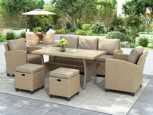 Merax 6-Piece Patio Furniture Set, Outdoor Dining Table Set All Weather Rattan Wicker Sofa with Table & Stools (Brown Cushion)