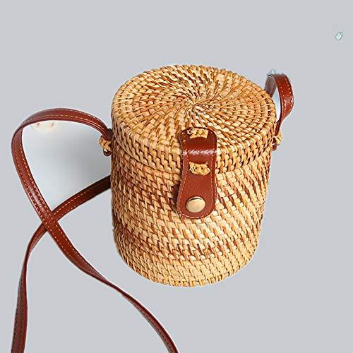 Regalos de cuero mujeres del hombro tejida a mano Tejido de mimbre mensajero del bolso redondo rota bolsa de correas Natural Chic bolso de la playa bolsas hechas a mano Cubo Mini Bolsa Especificación: