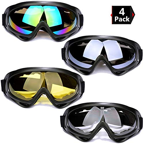 Peicees 2/4 Pack Ski Goggles Winter Snowboard Adjustable UV 400 Protective...