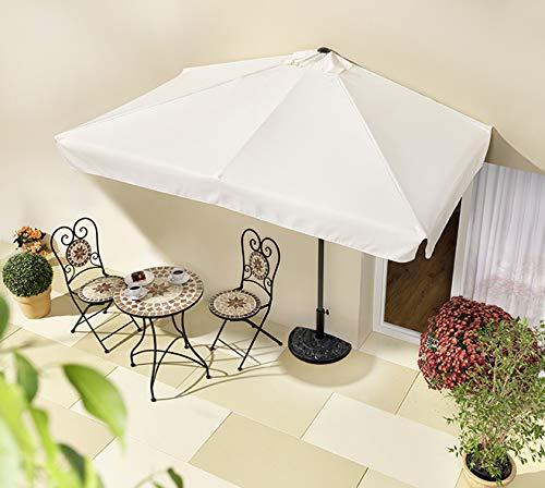 habeig Sonnenschirm halbrund rechteckig Wandschirm für Balkone oder Terrassen Polyester Aluminium, ca. 270 cm breit (Beige #69)