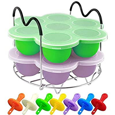 PRAMOO Silicone Egg Bites Molds and Steamer Rack Trivet with Handles for Instant Pot Accessories, 3pcs/set for 6qt & 8qt Electric Pressure Cooker with 7 Colorful Plastic Sticks(Green+Purple)