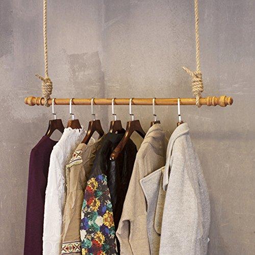 QiangDa Anillo De Techo Perchero De Madera Cuerda De Cáñamo Estante De Exhibicion para Casa Tienda De Ropa Estilo Industrial Vintage, 4 Tamaños Opcional (Tamaño : 140cm)