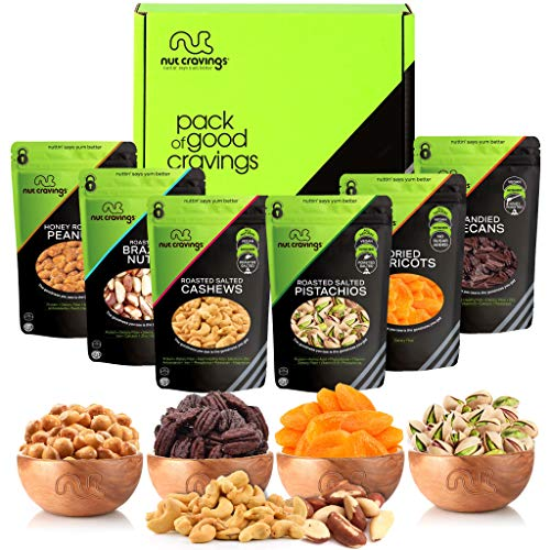 Valentines Day Gourmet Dried Fruit & Nut Gift Basket, Green Box (6 Bags) - Food Arrangement Platter, Care Package Variety, Prime Birthday Assortment, Healthy Kosher Snack Tray for Women, Men, Adults