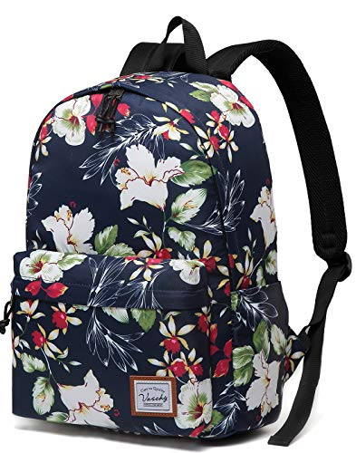 School Bag for Girls, Vaschy Lightweight Water Resistant Backpack Fashion Ladies Floral Rucksacks Casual Women Rucksack for 15in Laptop (Navy Floral Blooms)