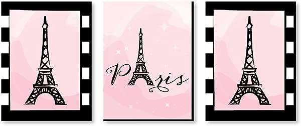 Big Dot Of Happiness Paris Ooh La La Baby Girl Nursery Wall Art Kids Room Decor And Eiffel Tower Home Decorations 7 5 X 10 Inches Set Of 3 Prints
