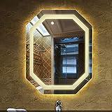 Rectángulo Espejos de baño iluminados Cristal HD Espejo de Pared antiniebla Biselado Pulido Sin Marco Almohadilla antivaho Completa Interruptor del Sensor táctil