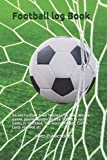 Football log Book: Record Football Team Statistics for Men, Women - Games played, Names and Jersey numbers of Players, Number of Goal Scored in ... Top Scorer, Penalty, Corner, Cards received,