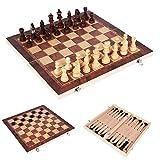Berrywho 15 pollici 3 in 1 set di scacchi in legno pieghevole, set di backgammon di dama di scacchi, set di scacchi da viaggio portatile con giochi da tavolo per bambini e adulti (39 * 39 cm)