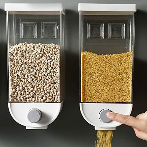 Baffect Dispensador de cereales Organizador doble de alimentos secos,recipiente de plástico montado en la pared Dispensador de cereal hermético al aire fresco y fácil de plástico transparente(1.5L)