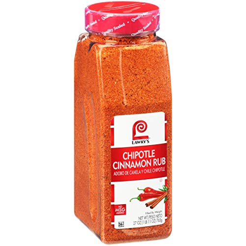 Lawry's Chipotle Cinnamon Rub, 27 oz - One 27 Ounce Container of Chipotle Cinnamon Rub Made of Chipotle Chili Pepper, Cinnamon, and Paprika Perfect for Burgers, Pork, Chicken, and Vegetables
