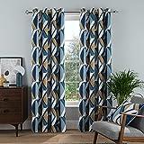 Sleepdown Cortinas con Ojales Grandes de Diamante para Dormitorio y Sala de Estar, 222 x 222 cm, Color Azul Marino
