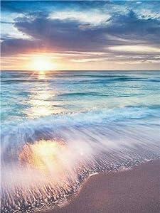 5D diamante pintura paisaje puesta de sol mar Kit de punto de cruz taladro completo bordado mosaico imagen de diamantes de imitación decoración del hogar A10 50x60cm