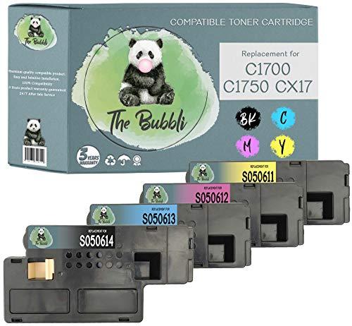 The Bubbli Original | Tóner Compatible para EPSON AcuLaser CX17 C1700 C1750N CX17NF CX17WF C1750W (4-Pack)