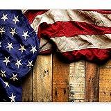 murando Fototapete Fahne America 350x256 cm Vlies Tapeten Wandtapete XXL Moderne Wanddeko Design Wand Dekoration Wohnzimmer Schlafzimmer Büro Flur Holz Bretter USA blau rot braun...