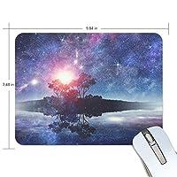 マウスパッド かわいい 星空の陰 木と星 夜空 高級 ノート パソコン マウス パッド 柔らかい ゲーミング よく 滑る 便利 静音 携帯 手首 楽