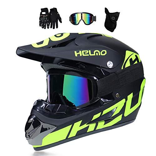 MRDEER Motocross Helm, Adult Off Road Helm mit Handschuhe Maske Brille, Unisex Motorradhelm Cross Helme Schutzhelm ATV Helm für Männer Damen Sicherheit Schutz, 5 Stile Verfügbar,A,M