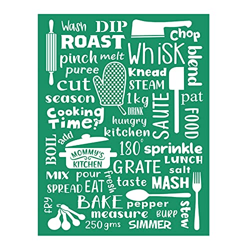 JAJADO DIY Self-Adhesive Silk Screen Stencils Reusable Painting,Kitchen Theme Washable Mesh Transfers Printing Stencil Decor for Wooden Board,T-Shirt, Pillow, Fabric, Home Decoration (Cooking Time)