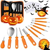 11 PCS Pumpkin Carving Kit Tools, Heavy Duty Stainless Steel Set and Double-side Professional Detail Sculpting Tool, Carving Knife for Halloween Decoration,Pumpkin Patterns Included