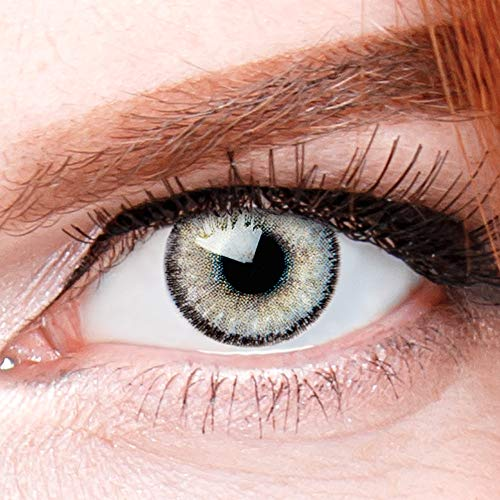 Graue Premium Kontaktlinsen Mirel Grau - Natürliche Stark Deckende Silikon Comfort Linsen für Helle und Dunkle Augen + Behälter - 1 Paar (2 Stück) - DIA 14.00 - Ohne Stärke 0.00 Dioptrien