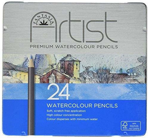 Pro-Art Fantasia Premium Aquarel Potlood Set 24pc, andere, Multi kleuren, 1.27 x 20.32 x 19.05 cm