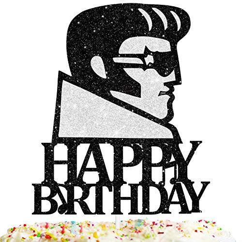Elvis Rock Star Cake Topper Happy Birthday Theme Black Glitter Decor Picks for Silhouette Anniversary Birthday Party Decorations Supplies
