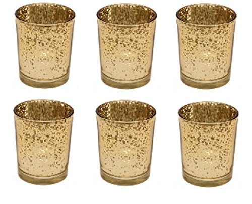 Homes on Trend Mercury Gold Glass Tea Light Votive Candle Holders Wedding Table Venue Decorations Centrepiece Accessories Dressing Idea Settings Tealight Holder Set of 6