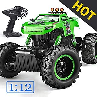 Remote Control Trucks Monster RC Car 1: 12 Scale Off Road Vehicle 2.4Ghz Radio Remote Control Car 4WD High Speed Racing All Terrain Climbing Car Toys Car Gift for Boys (Green)