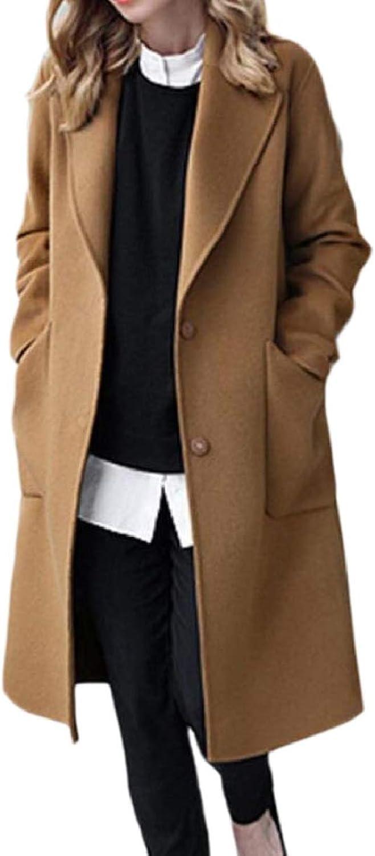 CBTLVSN Women's Single Breasted PlusSize Wool Blend Overcoats Pea Coat
