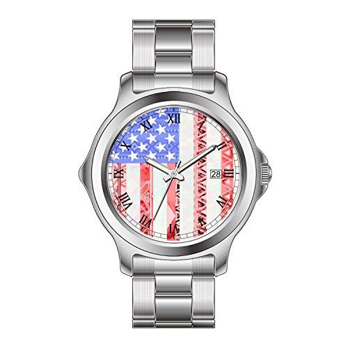 FDC–Navidad Regalo Relojes Fashion Fecha Acero Inoxidable Reloj de Pulsera de Cuarzo japonés de la Mujer Americana Bandera, Estados Unidos Blanco Rojo y Azul Azteca patrón