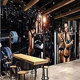 Panany 3D-Tapete für Fitnessstudio, kreative Sport-Hintergr&tapete, Wandbild, Yoga-Haus, Schlafzimmer, Badezimmer, Wohnzimmer, Wandbild, 400X280cm