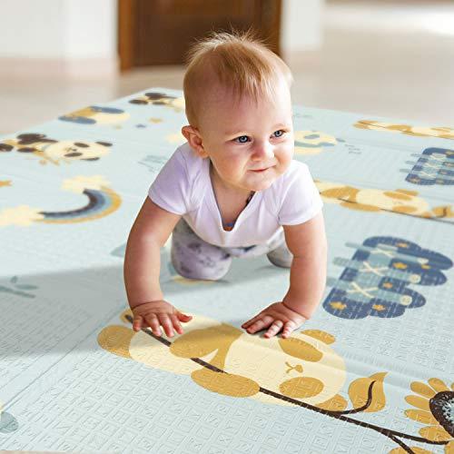 Wonder Boy Baby Spielmatte mit Tasche, Babymatte Krabbelmatte, faltbare Baby Matte, große Bodenmatte für Kinder, Spielteppich, Spielunterlage, schadstofffrei, rutschfest, Panda, 200 x 180 x 1,5 cm