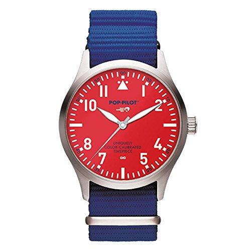 Reloj Cuarzo POP-PILOT para Hombre con Rojo Analogico Y Azul Nailon P4260362632830