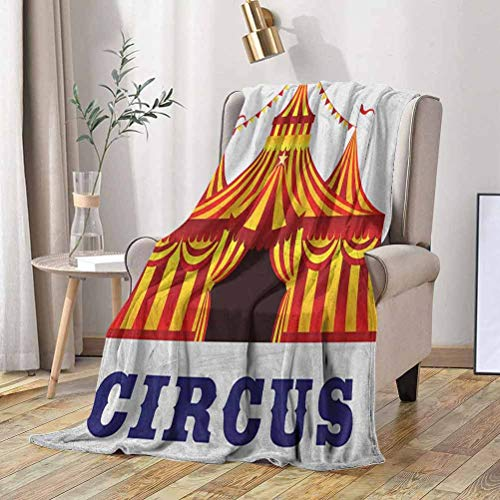 Circus Fleece Blanket Illustration of Old Striped Tent in Retro Style Old Fashion Joy Theater Art 60x70 Inch Flannel Fleece Throw Blanket for Couch
