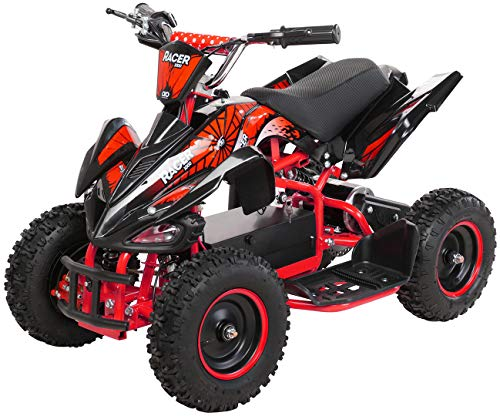 Actionbikes Motors Kinder Elektro Miniquad ATV Racer 1000 Watt 36 Volt - Scheibenbremsen - Safety Touch System Fußschalter (1000 Watt Schwarz/Rot)
