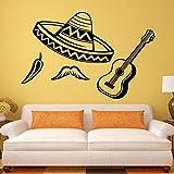 Cartel Musical Desmontable Aplique de Pared Decorativo Sombrero Latino Chile Guitarra Vinilo Adhesivo Cool Art Mural 83x56cm