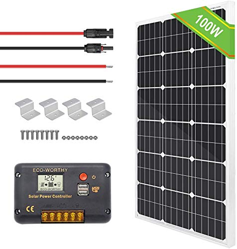 ECO-WORTHY 12V 100W Monocrystalline Solar Panel + 20A LCD Charge Controller + a Pair of 16ft Solar Cables + Z Bracket for Trailer,RV,Homes