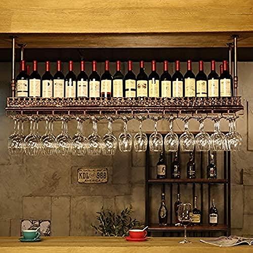 Estante de Vino de Barra Europea al revés para el hogar, Estante de Copa Creativo, Estante de Vino Colgante, Soporte, Estante de Copa de Vino Decorativo (Color: Latón, Tamaño: 60 * 35 cm)