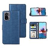Foluu für Xiaomi Redmi Note 10 4G Hülle, Redmi Note 10 4G Hülle Canvas Flip Folio Soft TPU Cover Bumper Kickstand Ultra Slim Starker Magnetverschluss Cover für Xiaomi Redmi Note 10 4G 2021 (Blau)